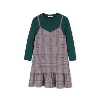 巴拉巴拉童装女童公主裙小童宝宝连衣裙秋装儿童格子裙子