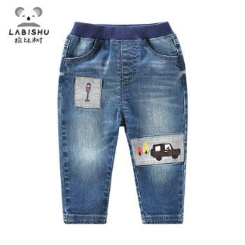 拉比树新款春装裤子男宝宝童裤 婴幼儿休闲裤长裤 儿童汽车牛仔裤