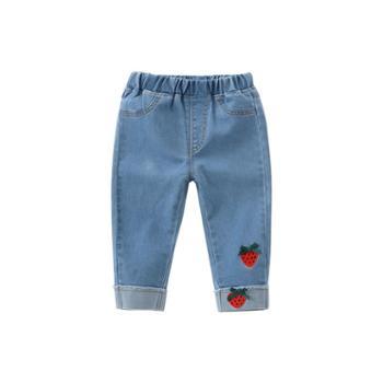 jellybaby宝宝牛仔裤女 洋气婴儿春装外裤小儿童春秋外穿女童裤子