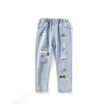 ZRAOTOOU/潮多女童裤子新款春装小脚春秋中大童洋气休闲破洞女孩儿童牛仔裤
