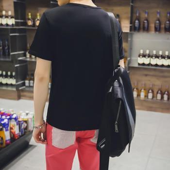 短袖t恤男韩版修身圆领印花半袖夏季男装纯色白体恤潮流