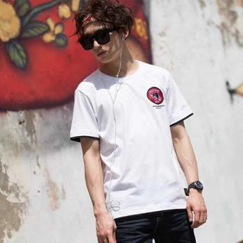 唐狮男装韩版短袖t恤男圆领学生纯棉印花半袖夏季青年撞色T恤
