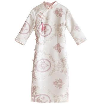俏娘鱼旗袍新款改良女刺绣锦缎少女可爱清新 连衣裙修身复古淡雅