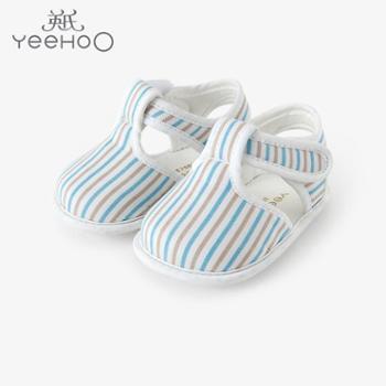 YEEHOO/英氏男宝步前鞋 婴儿春夏宝宝鞋凉鞋柔软防滑鞋底