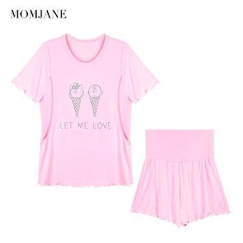 Mom Jane哺乳衣春秋莫代尔上衣短袖t恤睡衣孕妇产后喂奶衣服女夏季薄款