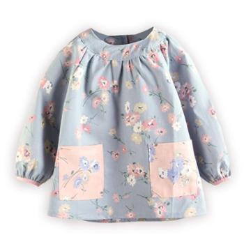 儿童防水罩衣宝宝秋冬季反穿衣纯棉防污淑女宝宝吃饭衣幼儿园长袖