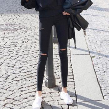 孕妇裤子打底春秋款薄款夏季外穿春夏装九分破洞牛仔黑色小脚春装