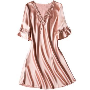 慕朵诗时尚睡裙女夏冰丝中裙家居服连衣裙薄款短袖蕾丝大码甜美丝质睡衣