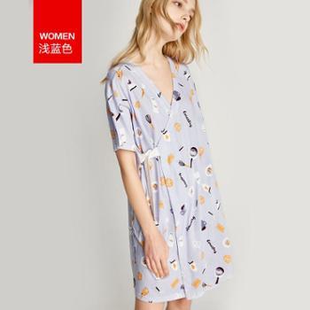 Hodohome/红豆居家 日式和服纯棉睡裙女薄款宽松短袖睡衣大码夏季全棉家居服裙女