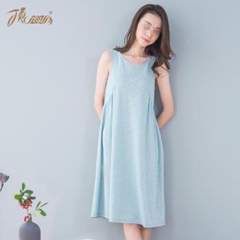 顶瓜瓜 睡裙女夏季薄款家居服 无袖棉背心性感可爱长裙 少女居家裙