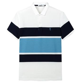 与狼共舞短袖t恤男士polo衫条纹修身2019夏季新款纯棉潮翻领男装