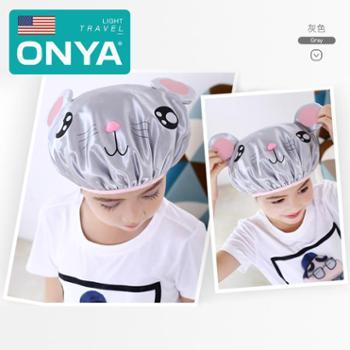 ONYA/然雅 儿童浴帽防水女童沐浴帽女护耳洗头帽可爱小孩洗澡帽头套帽