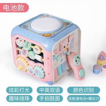 米佳 手拍鼓婴儿玩具宝宝早教音乐鼓拍拍鼓儿童六面体益智玩具
