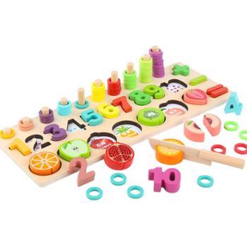 达拉 幼儿童水果数字认知形状配对积木宝宝男女孩岁益智力开发玩具