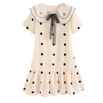 哺乳衣服夏季外出时尚波点短袖喂奶连衣裙夏天中长辣妈款哺乳裙子