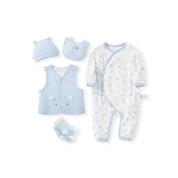 巴拉巴拉 婴儿用品大全初生宝宝满月礼物新生儿衣服礼盒送礼5件装