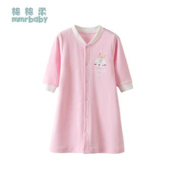 棉棉柔 宝宝睡袍春秋薄款婴儿睡衣防着凉长袖纯棉儿童睡裙幼儿护肚防踢被