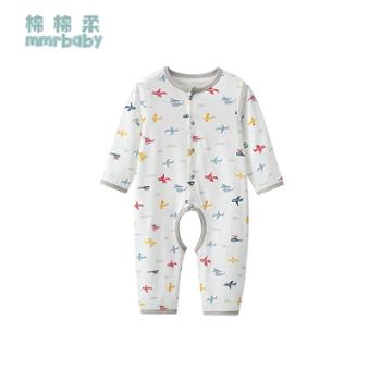 棉棉柔 婴儿开档连体衣薄款男宝宝开裆哈衣纯棉男童睡衣婴幼儿衣服