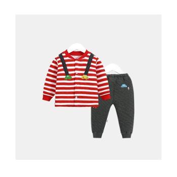CICIIBEAR/齐齐熊 秋冬新款男女童夹丝内衣套装婴儿宝宝加厚保暖睡衣两件套