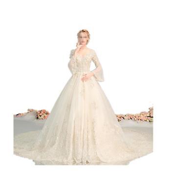 BORUIDIA/波瑞蒂亚法式轻婚纱森系礼服新娘新款V领长袖超仙奢华齐地拖尾