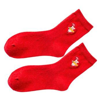 CARAMELLA 袜子女春秋中筒本命年猪红色羊毛袜卡通刺绣长袜新年袜