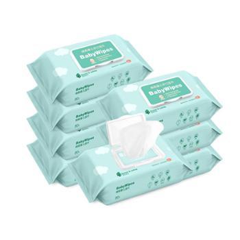 沐阳婴儿湿巾纸新生手口屁专用宝宝幼儿湿纸巾80抽6包家用大包装