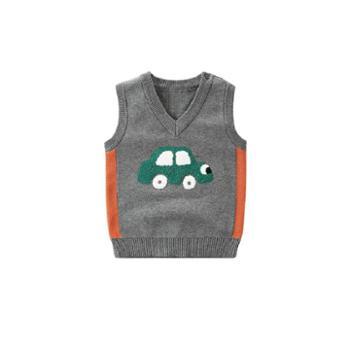 拉比树 童装新款儿童针织衫 宝宝马甲春秋装男童汽车毛衣背心