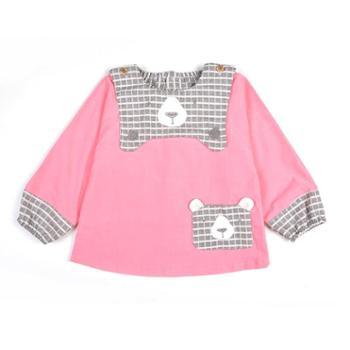 米豆酷尔 秋冬新款儿童灯芯绒婴儿吃饭罩衣防水宝宝长袖反穿衣