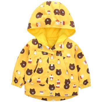 皮皮鸭(服饰) 男女宝宝春季外套连帽风衣夹克衫儿童春秋装卡通外套