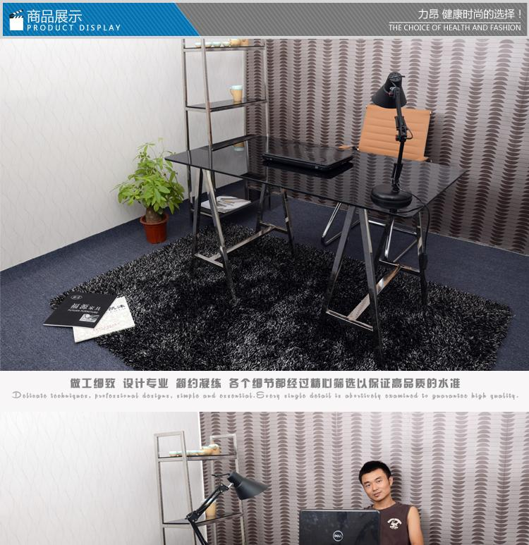 力昂台式电脑桌简约时尚现代宜家家用办公桌书桌钢化玻璃不锈钢 包邮M1