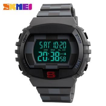 时刻美1304大表盘电子手表防水男士户外运动倒计时两地时间