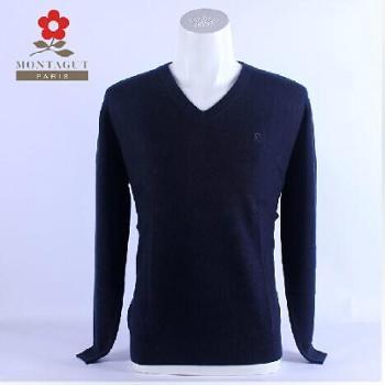 MONTAGUT梦特娇羊绒V领男套衫100%纯羊绒RM45108