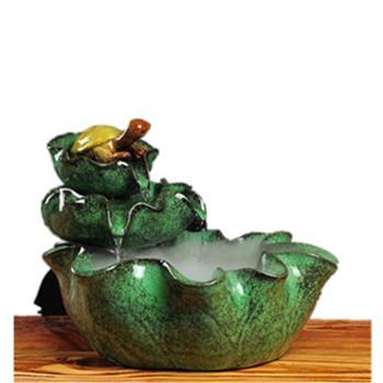 陶瓷工艺品摆件高端礼品长寿龟流水加湿鱼缸