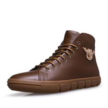 秋冬新款男士真皮头层皮休闲鞋 时尚百搭舒适棉鞋皮