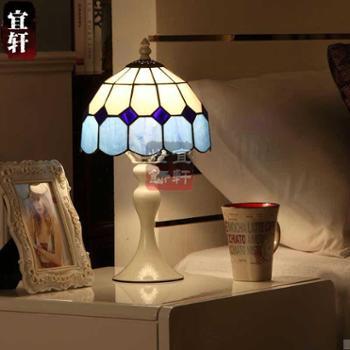 宜轩蒂凡尼地中海台灯欧式现代简约卧室床头灯玄关调光创意时尚小台灯D08023T