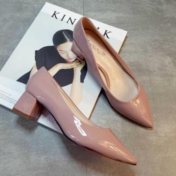 春夏季韩版尖头粗跟OL高跟鞋灰裸色工作中跟职业女鞋低跟浅口单鞋