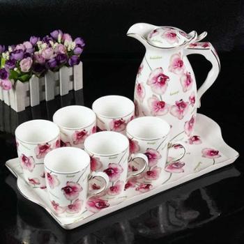 欧式创意凉水杯茶杯冷水壶陶瓷水杯杯子杯具水具整套装家用带托盘