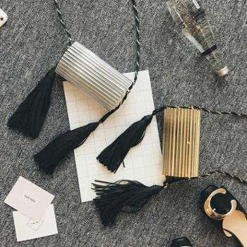 雪梨同款金属包2016秋季新款亮面流苏包欧美时尚晚宴包手拿包女包