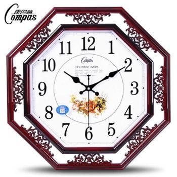康巴丝18寸钟表挂钟客厅时钟静音中式石英钟办公室卧室挂表中国风