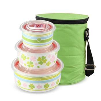 陶瓷保鲜碗三件套专用保鲜盒套装泡面碗微波炉饭盒便当盒密封带盖