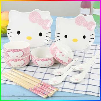 韩式碗碟套装可爱卡通碗盘餐具家用碗具套装碟子陶瓷碗筷勺礼品