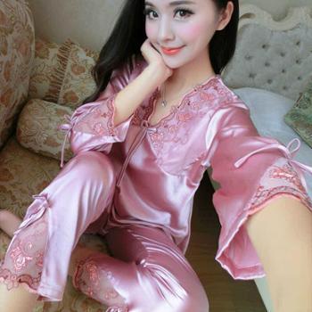 春秋长袖薄款丝绸睡衣女士夏季性感女秋季冰丝两件套装大码家居服