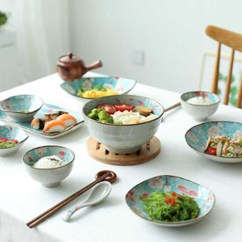 川岛屋 花季日式家用陶瓷二人食盘子汤碗碟套装餐具套装PZ-143