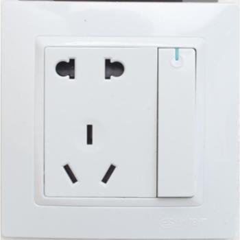 浏阳河电器一位单控开关带五孔插座86型Q5系列雅白色款