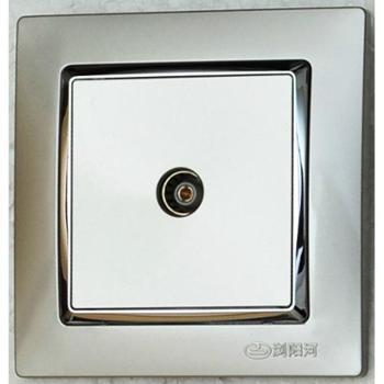 浏阳河电器 一位电视插座 86型Q7系列 香槟银