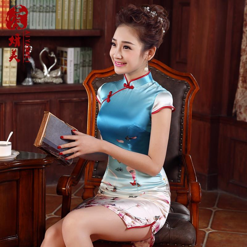 中老年真丝旗袍裙新款图片