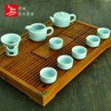 整套龙泉青瓷得福哥窑茶壶茶杯实木茶盘电磁炉四合一功夫茶具套装