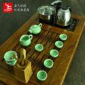礼品功夫茶具龙泉青瓷 喜气连连 整套电磁炉红花梨茶盘陶瓷套装