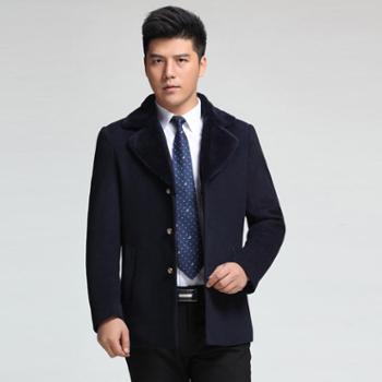 2015秋冬新款男士毛大衣九牛男式高档毛呢外套夹棉夹厚长风衣