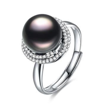 仙蒂瑞拉誓言10-11mm大溪地黑珍珠戒指开口可调附证书XDRL2298